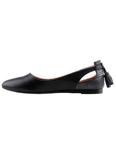 Ayakland Ayakland 1920-204 Günlük Fiyonklu Sandalet Bayan Cilt Babet Ayakkabı Siyah